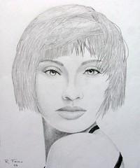 DSC01379 The girl with kaleidoscope eyes (Rodolfo Frino) Tags: art artistic pencil workonpaper pencilwork drawing rendering modernart portraitofawoman illustration monochome bw