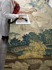 Aspirado controlado en horizontal (KRONOS Servicios de Restauracin) Tags: tapices museodeartesdecorativas restauracindetejidos kronos