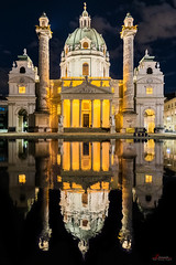Karlskirche (_Hadock_) Tags: wien karlskirche viena architecture arquitectura light night nightphotography photography noche luces lights reflection reflect mirror espejo agua reflejo iglesia church austria travel holiday nikon d750 creative commons comons full hd hdr