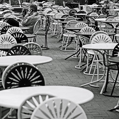Rising Sun (local paparazzi (isthmusportrait.com)) Tags: light blackandwhite bw sun white black brick coffee contrast dark campus square prime iso100 pod downtown raw pattern sitting dof chairs drink candid landmark crop ear tables uwmadison sunburst manual madisonwi seating chatting seated risingsun afs onthephone memorialunion studentunion universityofwisconsinmadison autofocus isthmus 2013 nikond90 danecountywisconsin photoshopelements7 pse7 50mm14g localpaparazzi redskyrocketman lopaps 365projectalternate