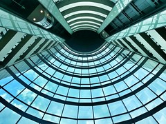 The Eye Of The Tower (Dhowayan (Abu Yara)) Tags: abstract architecture clouds hotel sofitel