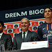 Nasser Al-Khelaïfi, président du Paris Saint-Germain, Thierry Antinori, vice-président exécutif d'Emirates et Zlatan Ibrahimovic