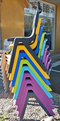 Snug Fit (mikecogh) Tags: chairs stack plastic repetition coloured fit