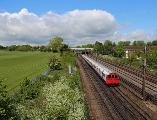 Bakerloo Line service approaching South Kenton, 23rd. May 2013.