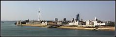 Portsmouth Harbour (Audrey A Jackson) Tags: houses sea sky panorama history beach church modern buildings pier sand apartments harbour fort portsmouth spinnaker seacape abigfave canon60d harbourwalls vigilantphotographersunite