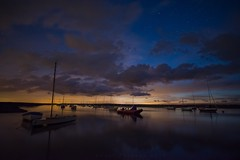Brancaster Staithe late evening Colours (Gary Pearson Photography) Tags: brancaster staithe norfolk long exposure stars clouds tide boats serene tranquil