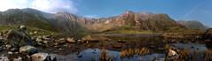 Llyn Idwal - Panoramic (Geoff Moore UK) Tags: outdoors landscape wales panarama wide angle lake watrer clouds sky