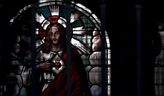 SAGRADO CORAZON (jpi-linfatiko) Tags: sagrado corazon sacre coeur sacred heart vitral glass vidrio luz som shadow light contrast contraste contraluz nikon d5200 85mmf18g 85mm edicion edit rejas grilla grid
