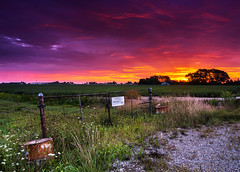 Walls Road Sunrise (Cale Best Photography) Tags: sunrise landscape lakeshore windsor ontario canada essex windsoressex light morning dawn beauty beautiful nature calm peaceful clouds color colour sky fence gate farm rural beams summer august soy