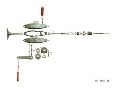 2016-09-22 Venusberg Drill (Geert1969) Tags: deconstruction geert spekken arnhem netherlands art macro parts apart disassembled whitebackground white drill venusberg german blue metal manual gears