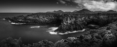Los Herveridos in mono (Brad@Shaw) Tags: red mono blackwhite bw blackandwhite shoreline sea seascape atlanticocean rockformation rocks rocky mountains clouds landscape lanzarote spain espana longexposure waves water formatthitech canaryislands canon pano panoramic panorama 1635mm 1635mmf4lisusm