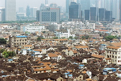 View of the southeast quarter of the old town (avezink) Tags: ninghelu penglailu se vista wangyunlu oldtown shanghai china    historic heritage viewfromabove birdseye roofs film analog canoneos30