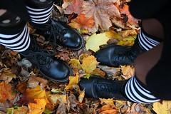 IMG_2648 (anthrax013) Tags: shoes stockings stripy drmartens autumn yellow leaves