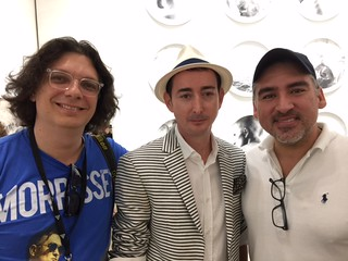 Photographer Manny Hernandez with Robert Fontaine and Nick Carvajal at the five year anniversary party of Robert Fontaine Gallery