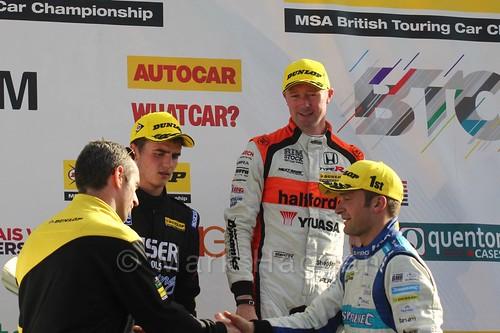 Colin Turkington, Gordon Shedden and Aiden Moffat on the podium during the BTCC Brands Hatch Finale Weekend October 2016