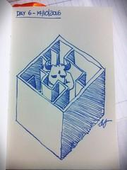 Day 6 of my sketch streak (# annola) Tags: dessin disegno zeichnen drawing minotaur labyrinth minotauro fller fountainpen stilografica stylo blu bleu blau streak sketch doodle