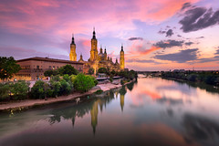 Basilica of Our Lady of the Pillar and Ebor River in the Evening, Zaragoza, Aragon, Spain (ansharphoto) Tags: aragon architecture baroque basilica bell bridge building cathedral church city cityscape culture dusk ebro europe european evening famous historic history illuminated lady landmark landscape lights medieval night nuestra old our pilar pillar reflection river saragossa sky skyline spain spanish sunset temple tourism tower town travel twilight urban view water zaragoza