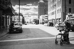 Long Way Across. Windsor, ON. (Pat86) Tags: photooftheday windsor downtown streetphotography blackandwhite man nikond7000 walker crosswalk