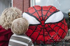 Spiderman pumpkin (grilljam) Tags: pumpkinfest damariscotta autumn october2016 ewan 7yrs seamus 4yrs spiderman pumpkin