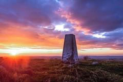 Today I climbed a mountain (leighbeta) Tags: sunset sky clouds trig stone mountain llangyndeyrn crwbin trigpoint trigstone dusk twilight goldenhour sun