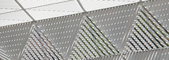 The New York City AIDS Memorial Park at St. Vincent's Triangle. (TheMachineStops) Tags: 2016 outdoor nyc manhattan newyorkcity westvillage park dappledlight shadows geometric stvincentshospital geometrie metal lines abstract pattern triangles