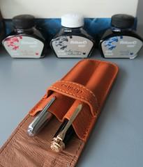Pelikan & Parker (lushdimple) Tags: pelikan souveran parker 21 pebble leather pouch fountain pen royal blue brilliant red 4001 ink vintage black