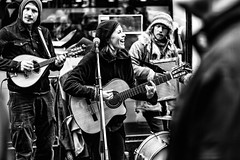 Having a party (MacCabri) Tags: blackandwhite monochrome street streetphotography music streetmusicians performing copenhagen guitar playing singing strget