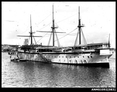 Training ship HMAS TINGIRA, probably moored at Rose Bay, Sydney Harbour (Australian National Maritime Museum on The Commons) Tags: hmastingira navy sailors bwphotograph nsssobraon sydneyharbour rosebay berrysbay