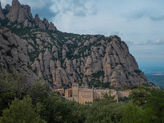 Benedictine Abbey of Montserrat (Lena and Igor) Tags: europe spain catalonia montserrat abbey mountain rocks scenic landscape clouds sunset travel tourism hiking