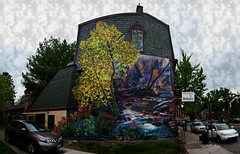 Wissahickon Crossing_Panorama1 (dcsaint) Tags: panorama house tree art philadelphia photoshop painting landscape nikon stream pennsylvania pa vehicle 90 pse chestnuthill dcsaint nikond90 annenorthrup pse10 photoshopelements10 wissahickoncrossing