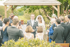 20130519_F0002: Kirsty and Daniel's wedding - The wedding ceremony finishes in a rain of confetti (wfxue) Tags: flowers trees wedding people love guests groom bride kent dress heart candid group confetti event  faversham