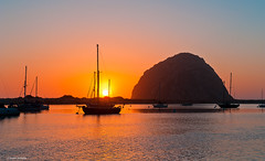 Sunset, Morro Bay (Photosuze) Tags: california sky sun boats silhouettes sunsets morrobay sailboats centralcoast bays morrorock
