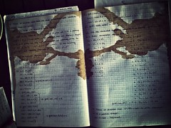 Rorschach Test (B.K.U.) Tags: old notebook math psycology test rorschachtest etiler mammothfilter flickriosapp:filter=mammoth uploaded:by=flickrmobile