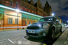 Streets of London (david gutierrez [ www.davidgutierrez.co.uk ]) Tags: city uk blue sky urban streets london car night clouds photography lights mini lighttrails colourful davidgutierrez sony350dslra350