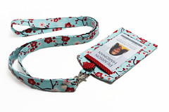 ID39 - A Fabric Lanyard OR a Vertical ID Badge Holder with a Back Pocket & a Lanyard (KapomCrafts) Tags: idholder cuteidholder nametag lanyard sakura flower floral red lightblue officesupply officeaccessories handmade kapomcrafts etsy japanesefabric cozy