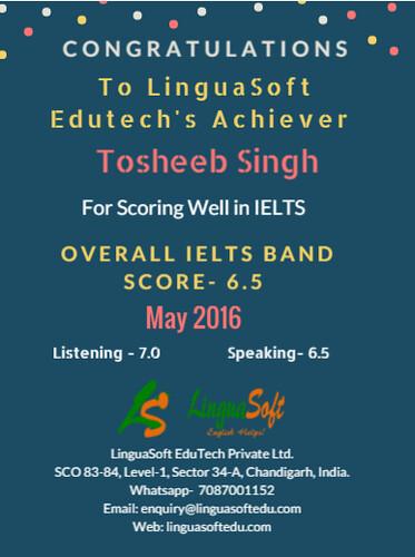 Tosheeb Singh - IELTS Band score 6.5