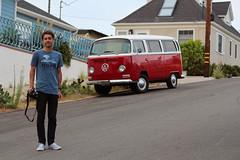 Me next to a Kombi. (Rares M. Dutu) Tags: kombi self selfportrait volkswagen car red landscape nope photographer portrait california san diego sandiego