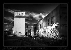 Aspen Crossings Train of Terror on spur line with grain elevator, Mossleigh, Alberta (kgogrady) Tags: aspencrossing clouds grainelevator infrared landscape summer trainofterror mossleigh alberta canada traintracks photosofalberta westerncanada rural railcars picturesofalberta wooden weathered southernalberta xpro1 rails 2016 fujinon xf18135mmf3556oiswr fujifilmxpro1 railwaytracks fujifilm buildings bw cans2s grain blackwhite blackandwhite canadianprairies elevator