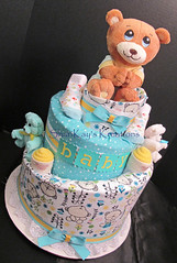 Topsy Turvey Gender Neutral Bear Theme Diaper Cake (Sharikay's Kreations (Formerly Shari's Diaper Cake) Tags: diapercake diaper topsyturvy babygift babyshower blankets teddybear bears washagami