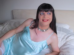 Blue (Paula Satijn) Tags: hot sexy girl tgirl transvestite gurl satin silk shiny blue nightie cami camisole nightdress fun happy smile sweet stockings lace