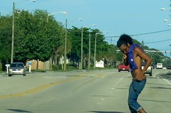 Black boy in Sunday Morning Traffic (LarryJay99 ) Tags: shirtless men male man guy guys dude dudes blackman sagger blacksagger jeans denim saggers