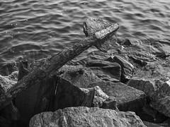 It's in the details (swedeshutter) Tags: anchor rusty iron water ocean sea stones black white bw em10 olympus 25mm f18 hn klva gothenburg gteborg sweden sverige west coast archipelago