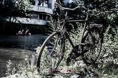 Treib Gut! (blende9komma6) Tags: hannover linden germany river flus bicycle nikon d7100 canoe paddle flotsam treibgut jetsam ihme ihmezentrum fahrrad paddeln kanu sommer summer street shore ufer strandgut
