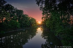 Pemberville River Sunset (Dr. M.) Tags: greatblackswamp outdoors green landscape woodcounty sunset color sky river reflection reflections trees hdr nikon d7000 tokina1116mm pemberville ohio laborday
