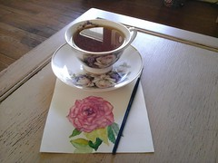 A little tea and painting (candiceshenefelt) Tags: tea roses art painting watercolor watercolour cup teacup relaxation relaxing calm tranquility tranquil o bonito