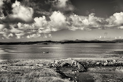 Across the Water (Mirrored-Images) Tags: boat clouds landscape mono monochrome northuist outdoor scotland sepia silverefexpro sky water