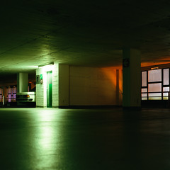 stuff (.Till) Tags: green orange color mercedes parking deck reflection windows night light dark bielefeld canon