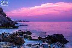 Auroras Sureales (Andres Breijo http://andresbreijo.com) Tags: auroras playa beach mar sea nerja axarquia malaga andalucia espaa spain rosa pink paisaje landscape coastline nubes clouds nublado cloudy cielo sky