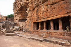 Cave temple from outside (Scalino) Tags: india karnataka travel trip badami temple cavetemple cave