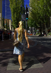 Crosswalk (swong95765) Tags: woman blonde female lady walking crosswalk city street beautiful